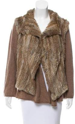 Minnie Rose Fur & Cashmere Knit Cardigan