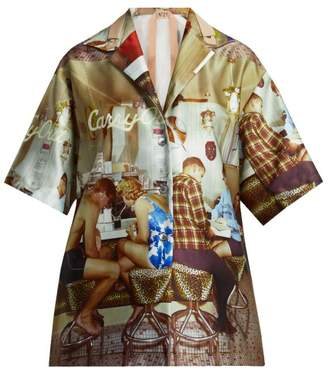 No. 21 - Good Times Satin Bowling Shirt - Womens - Beige Multi