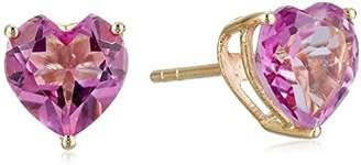 10k Yellow Gold Topaz Heart Stud Earrings