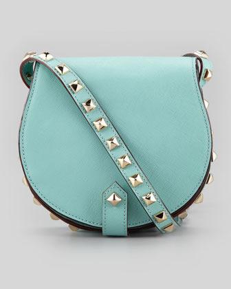 Rebecca Minkoff Skylar Saffiano Studded Mini Messenger Bag, Sea Glass