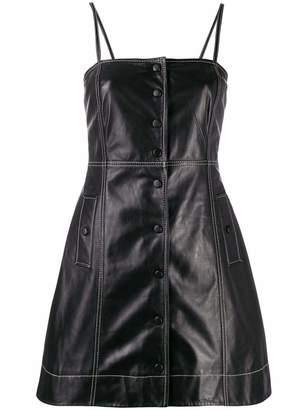 Ganni Leather Button Front Mini Dress