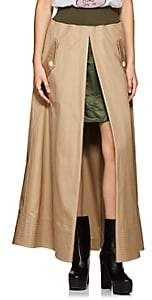 Sacai Women's Slit Cotton Twill Maxi Skirt-Beige, Khaki