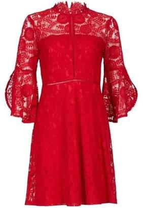 Dorothy Perkins Womens *Blue Vanilla Red Frill Sleeve Lace Skater Dress
