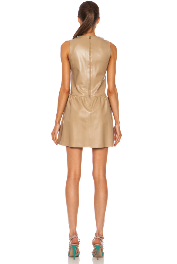 RED Valentino Lambskin Leather & Flower Embellished Dress in Natural