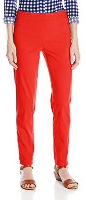 SLIM-SATION Women's Wide Band Pull On Ankle Pant with Tummy Control