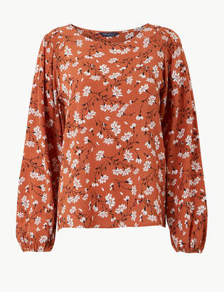 Marks and Spencer Floral Print Round Neck Long Sleeve Blouse