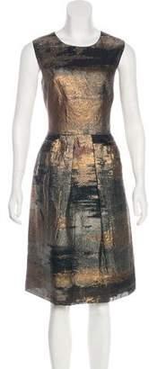 Lela Rose Metallic Pleated Dress