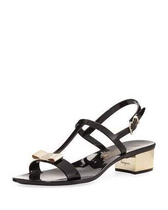 Salvatore Ferragamo Jelly Flat Sandals, Black
