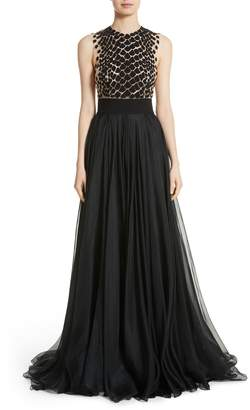 Carmen Marc Valvo Couture Embroidered Organza Gown