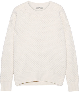 Vince - Honeycomb-knit Wool And Yak-blend Sweater - Ecru $365 thestylecure.com