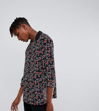 Reclaimed Vintage Inspired Revere Shirt In Black Floral Print Reg Fit