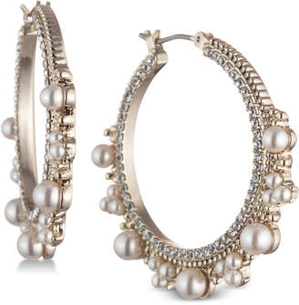 Marchesa Gold-Tone Cubic Zirconia & Imitation Pearl Hoop Earrings