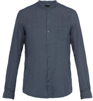 Once Milano - Frayed Edge Crushed Linen Poplin Shirt - Mens - Blue