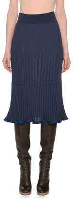 Agnona Ribbed A-Line Below-Knee Pull-On Wool-Blend Skirt