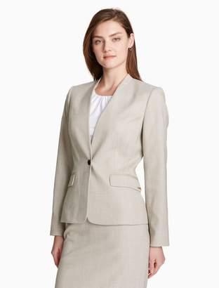 Calvin Klein crosshatch one button jacket