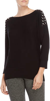 Cable & Gauge Studded Dolman Sleeve Sweater