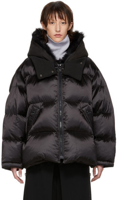 Yves Salomon Army Black Down Merino Shearling Coat