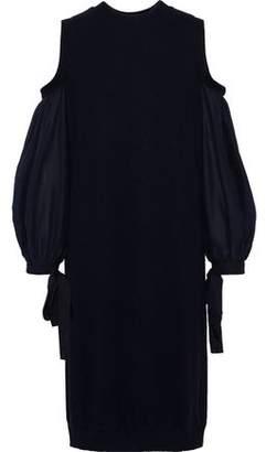 Clu Cold-shoulder Twill-paneled Stretch-knit Dress