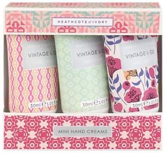 Heathcote & Ivory Vintage Vintage Fabric & Flowers Mini Hand Creams, 3 x 30ml