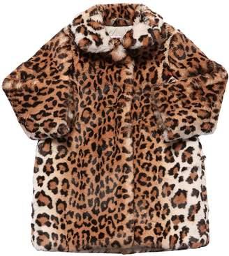 Il Gufo Leopard Print Faux Fur Coat