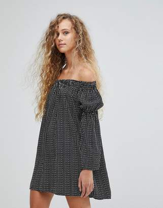 Love Polka Dot Bardot Bell Sleeve Tunic Dress