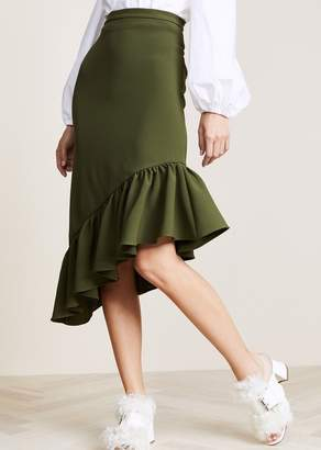 Edit Asymmetric Peplum Skirt Army Green