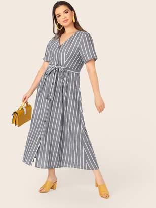 Shein Plus V-neck Stripe Belted Tea Dress