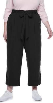 Popsugar Plus Size POPSUGAR Paperbag-Waist Wide Leg Crop Pants