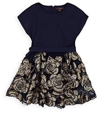Imoga Kids' Tamara Floral-Soutache Dress - Blue