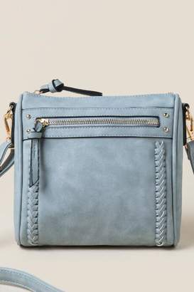 francesca's Serena Braided Top Zip Crossbody - Gray