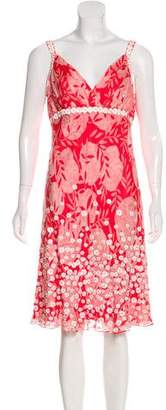 Carmen Marc Valvo Printed Knee-Length Dress