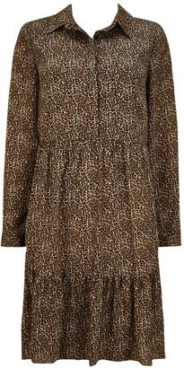 WallisWallis Stone Tiered Animal Print Shirt Dress