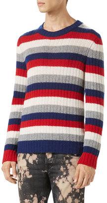 Gucci Striped Cashmere Crewneck Sweater, Red $950 thestylecure.com