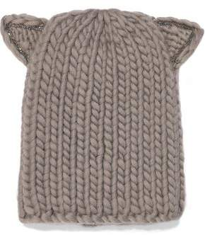 Eugenia Kim Felix Crystal-trimmed Cable-knit Wool Beanie