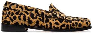 RE/DONE Leopard print fabric flat loafers