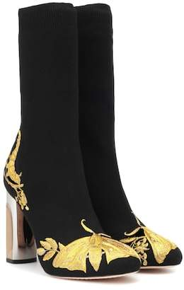b2120183029e Alexander McQueen Embroidered stretch-knit ankle boots
