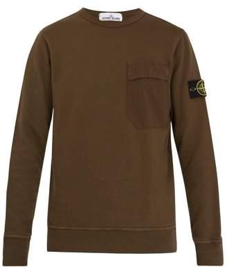 Stone Island Crew Neck Cotton Sweatshirt - Mens - Khaki