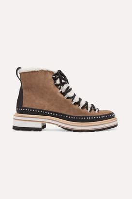 Rag & Bone Compass Studded Leather And Shearling-trimmed Suede Ankle Boots - Beige