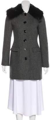 Dolce & Gabbana Fur-Trimmed Herringbone Coat