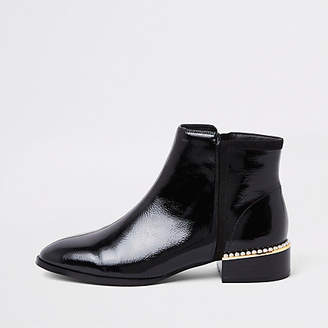 River Island Black wide fit pearl embellished ankle boot