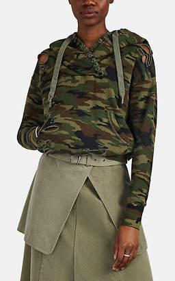 NSF Women's Bayou Shredded Camouflage Cotton Surplice Hoodie - Green