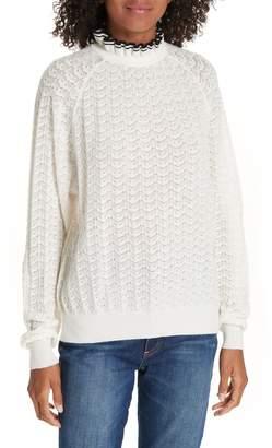 Maje Ruffle Collar Pointelle Knit Sweater