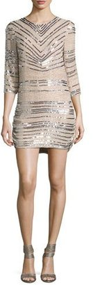 Parker 3/4-Sleeve Beaded Sequin Shift Dress, Ivory $428 thestylecure.com