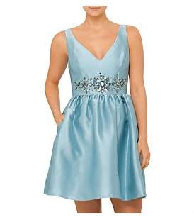 Adrianna Papell Deep V Neck Party Dress
