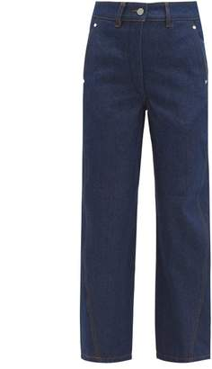 Lemaire Twisted High Rise Wide Leg Jeans - Womens - Dark Blue