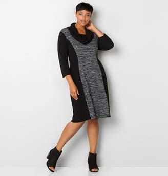 Avenue Spacedye Colorblock Cowlneck Dress