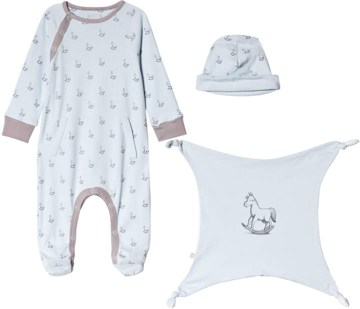 The Little Tailor Blue Hat, Babygrow and Comforter Gift Set