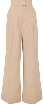 BEIGE CASASOLA - Pleated Wool Wide-leg Pants