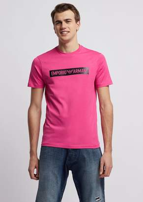 Emporio Armani T-Shirt In Jersey With Contrasting Printed Logo