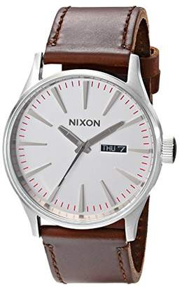 Nixon Sentry Leather A1051113-00. Silver and Brown Men's Watch (42mm Silver/White Watch Face. 23mm Brown Leather Band)